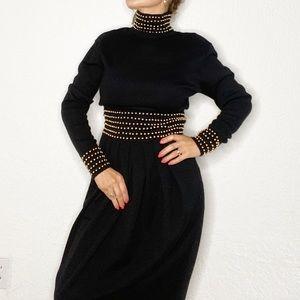 KENAR Black with gold beaded vintage Dress Size M